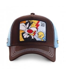 Casquette Capslab Trucker Looney Tunes Titi VS Gros Minet Marron