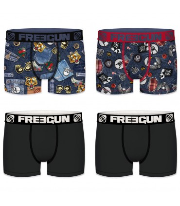 Pack of 4 men's colored Boxers AMZ F1