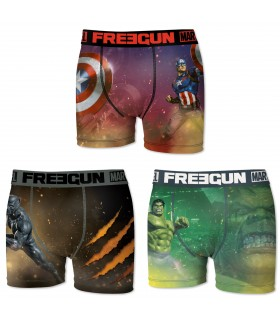 Boxers hommme microfibre Packx3 Freegun Marvel E1