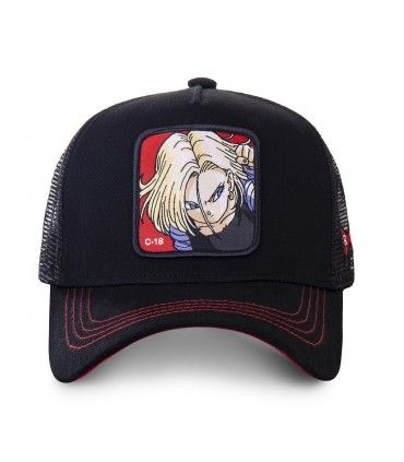 Men's Capslab Dragon Ball Z C-18 Black Trucker Cap