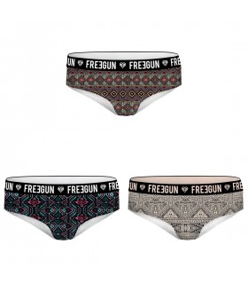 Lot de 3 Boxers Femme MISS FREEGUN Motifs Multicoloree