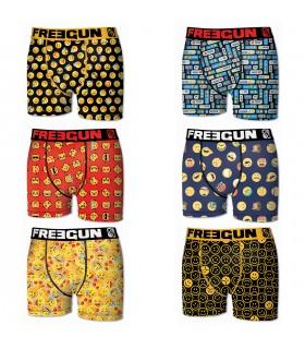 Lot de 6 boxers pour Homme Freegun Emotiks Multicolore
