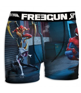 Boxer Homme Freegun Spider Man Team Bleu et Rouge