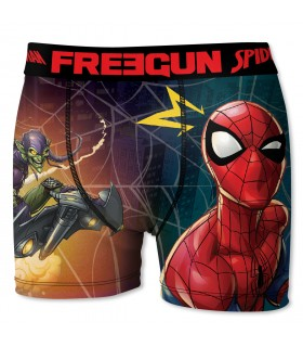 Boxer Garçon Freegun Spider Man Toile Rouge et Bleu