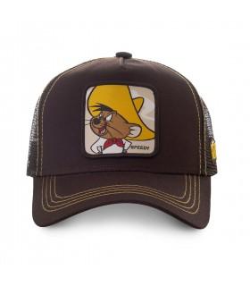 Casquette trucker Capslab Looney Tunes Speedy Gonzales Marron vue de face