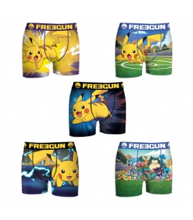 Lot de 5 Boxers Garçon Freegun Pokemon Pikapika Multicolore