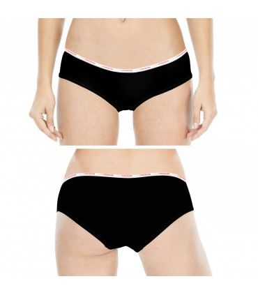 Girl's Soft Touch Black and Coral Boxers