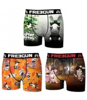 Boxers garçon microfibre Packx3 Freegun Lapin Cretin E1