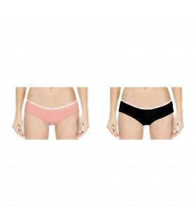 Lot de 2 Boxers fille Miss Freegun soft touch Noir et Orange