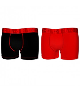 Pack of 2 men's Soft Touch Black and Red Boxers