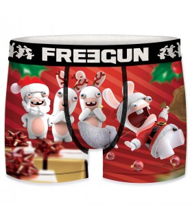 Boxer Garçon Freegun Lapins Crétins Christmas fête de noel
