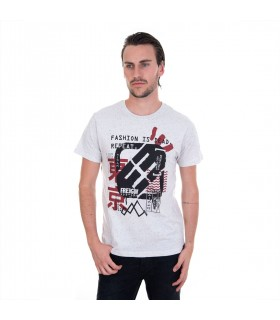 Tee Shirt Homme Freegun Fashion is dead Gris