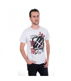 T-Shirt Homme Freegun Fashion is dead Gris côté