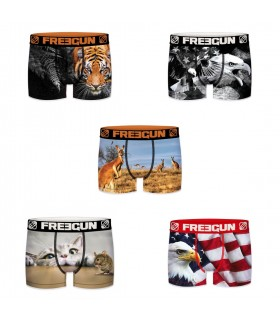 lot de 5 boxers garçon animals freegun multicolore