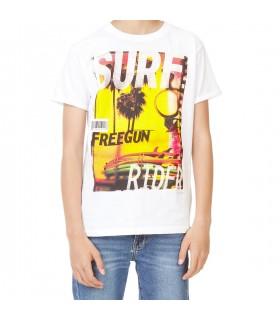 Men's Surf Rider White and Yellow Tee Shirt