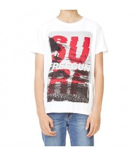 Men's Surf White and Red Tee Shirt