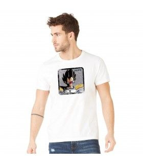T-Shirt coton homme Dragon Ball Z Vegeta Blanc