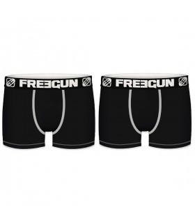 Lot de 2 Boxers Freegun homme unis noir en coton