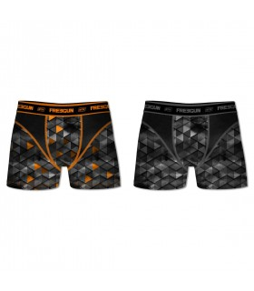 Pack of 2 men's Aktiv Triangle Black and Orange Boxers