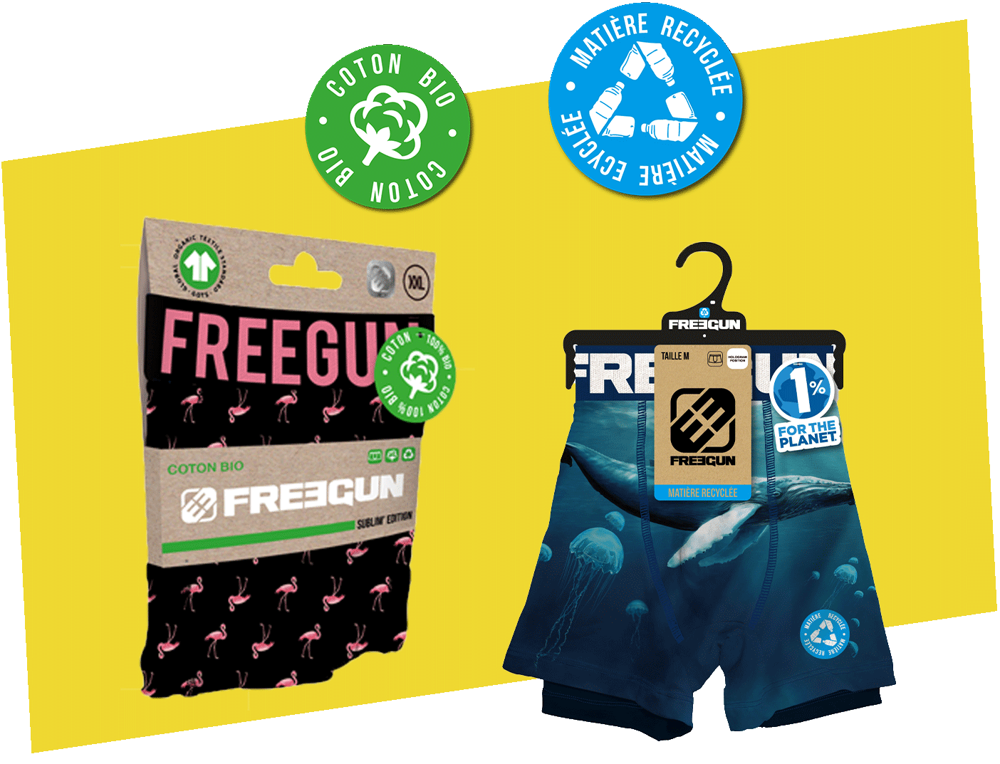commitment freegun boxers organic cotton et polyester recycled