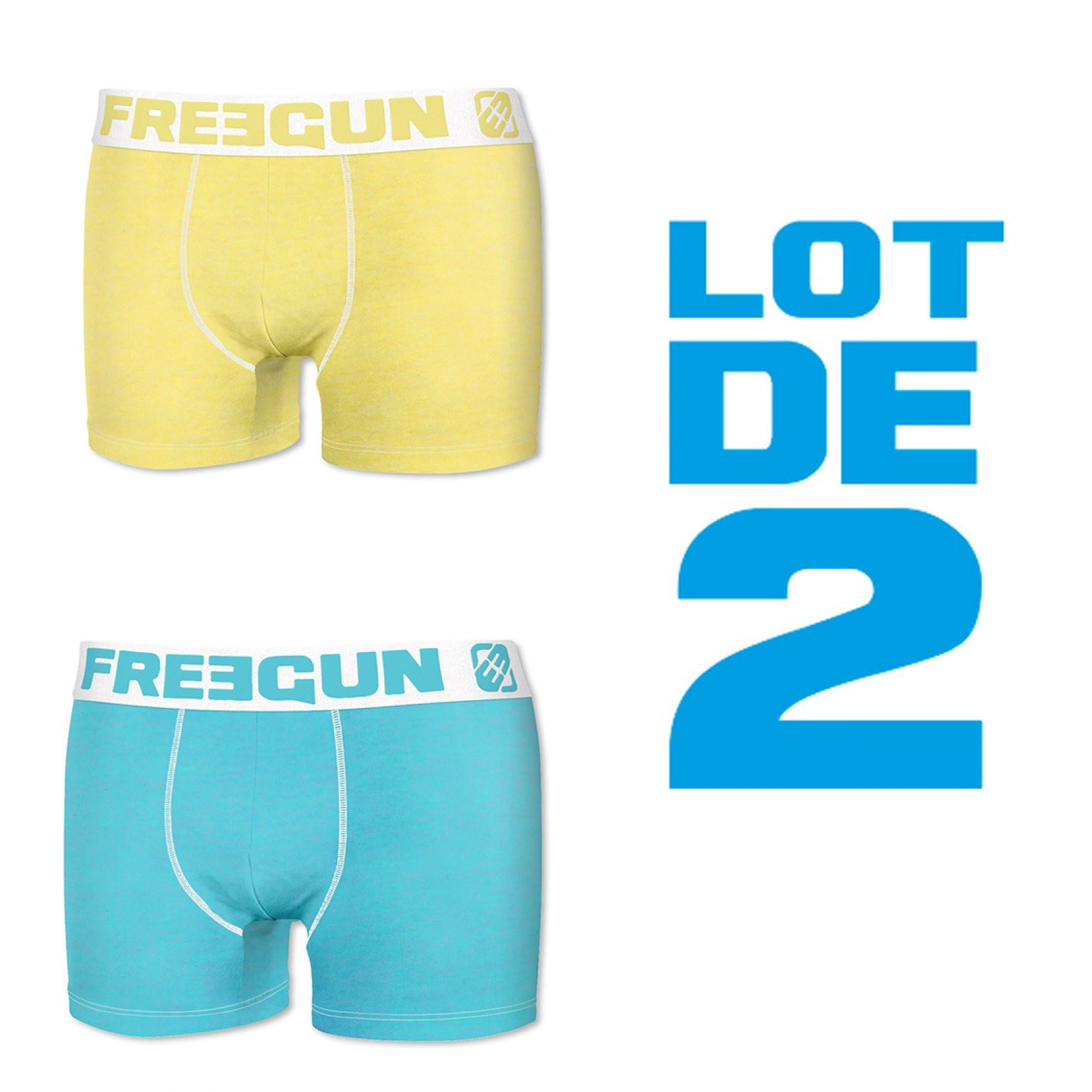 Lot de 2 boxers garçon fresh jaune et bleu (photo)