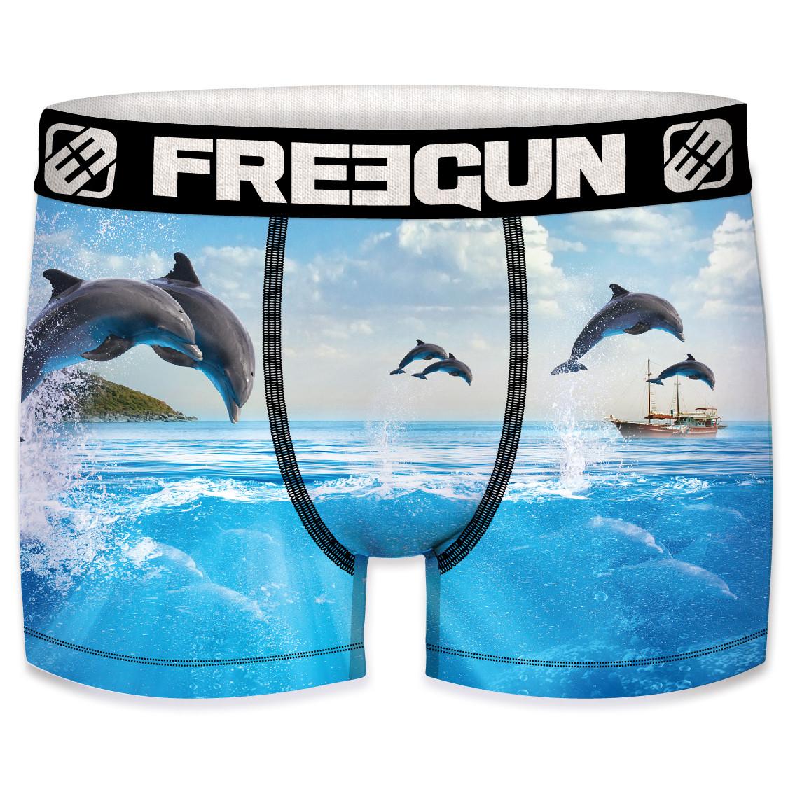Boxer freegun homme polyester recyclé  ocean life dolphin