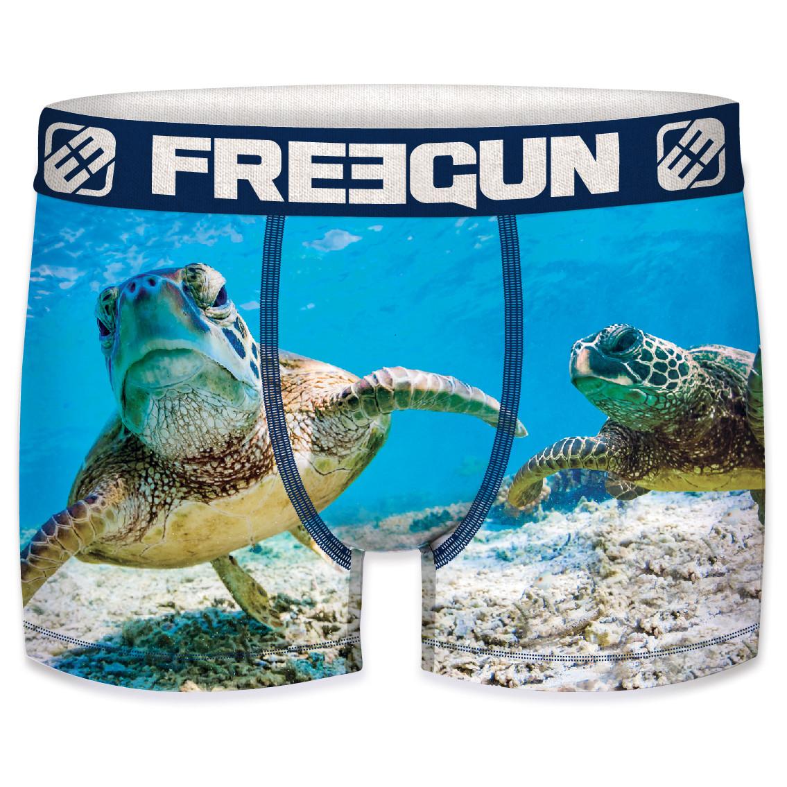 Boxer freegun homme polyester recyclé  ocean life turtle