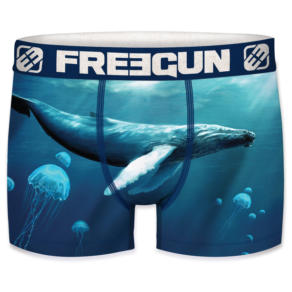Boxer freegun homme polyester recyclé  ocean life whale