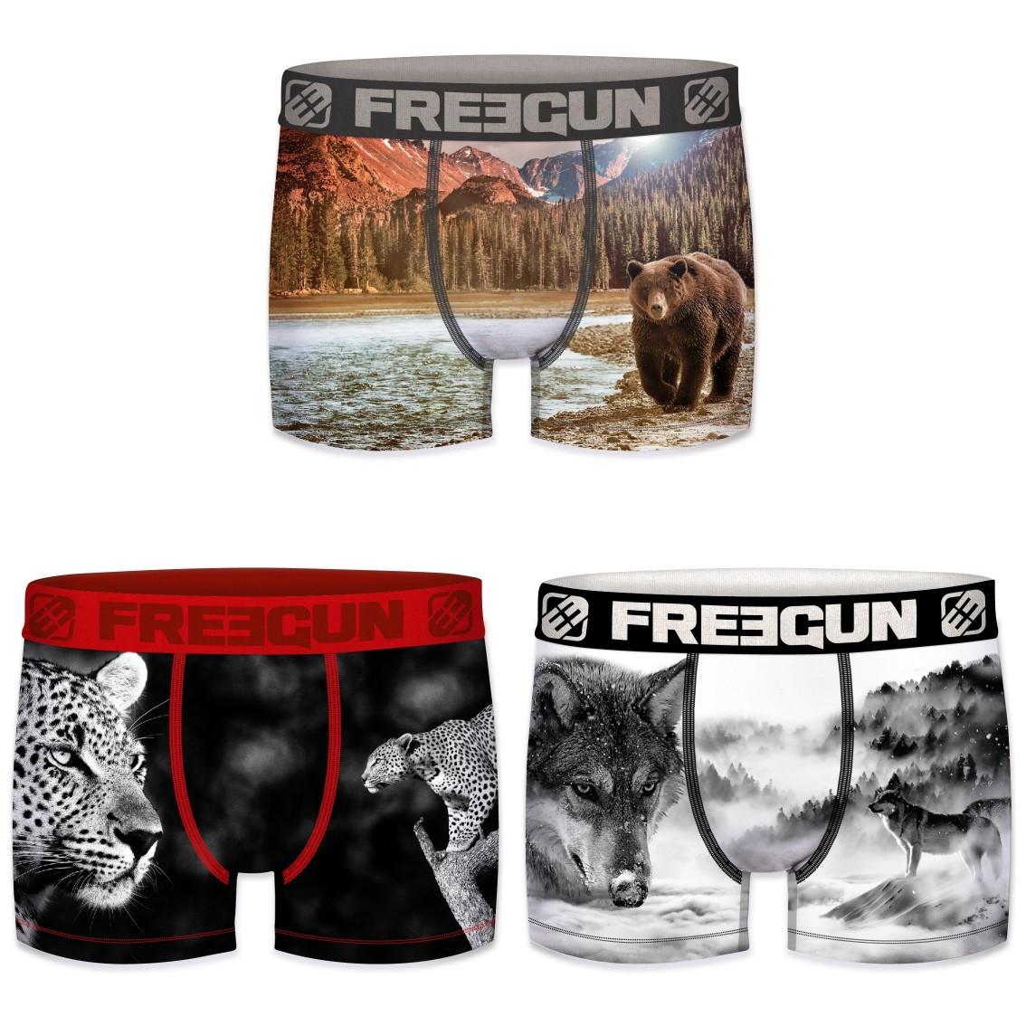 Lot de 3 boxers freegun homme polyester recyclé animals