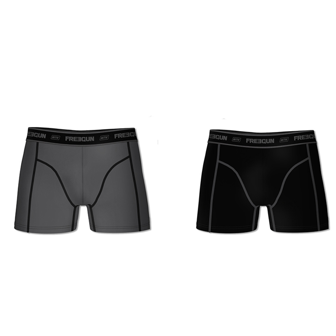 Lot de 2 boxers coton homme aktiv gris et noir (photo)