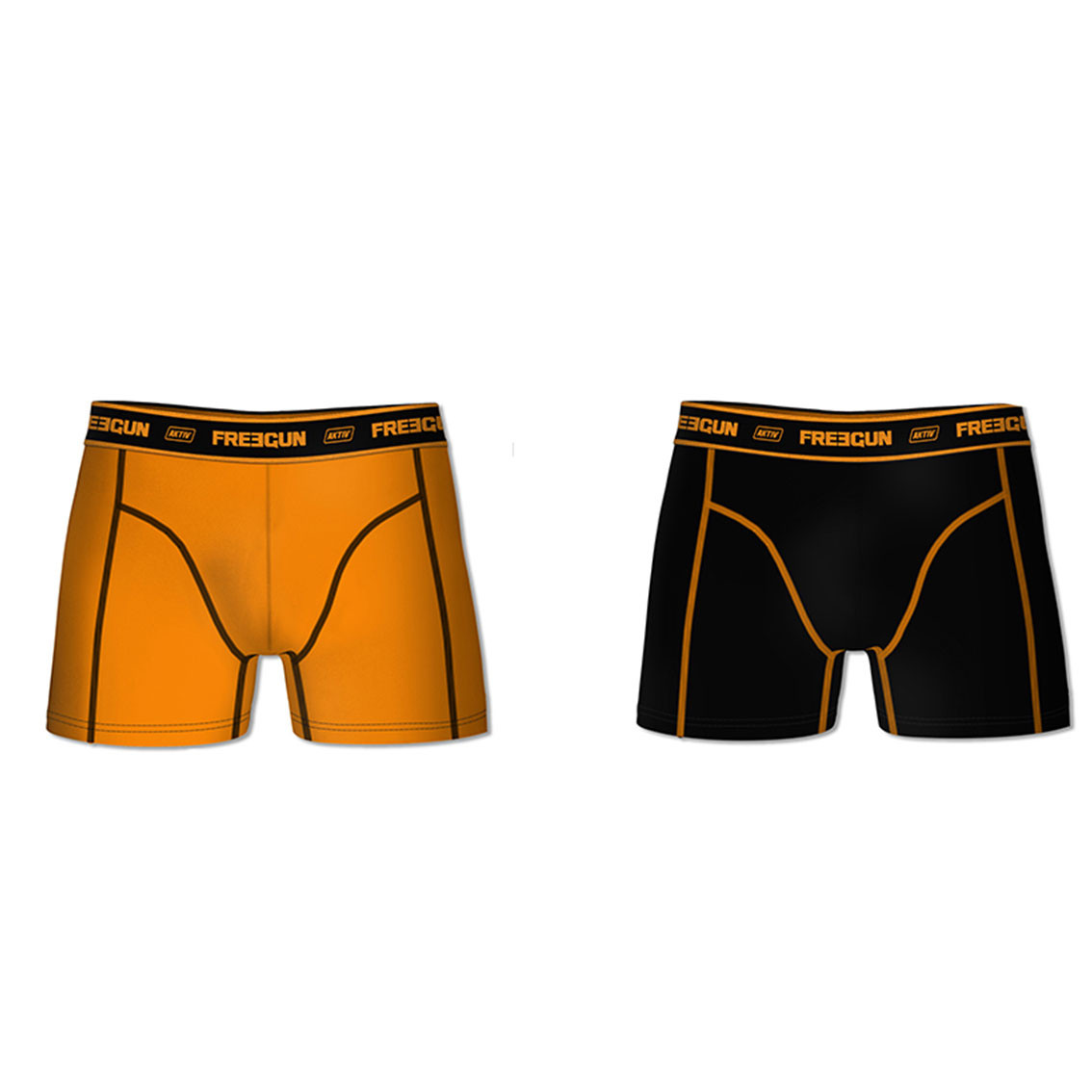 Lot de 2 boxers coton homme aktiv orange et noir (photo)