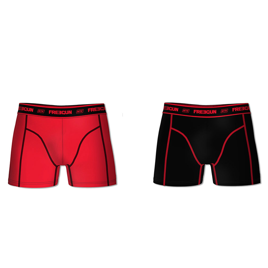 Lot de 2 boxers coton homme aktiv rouge et noir (photo)