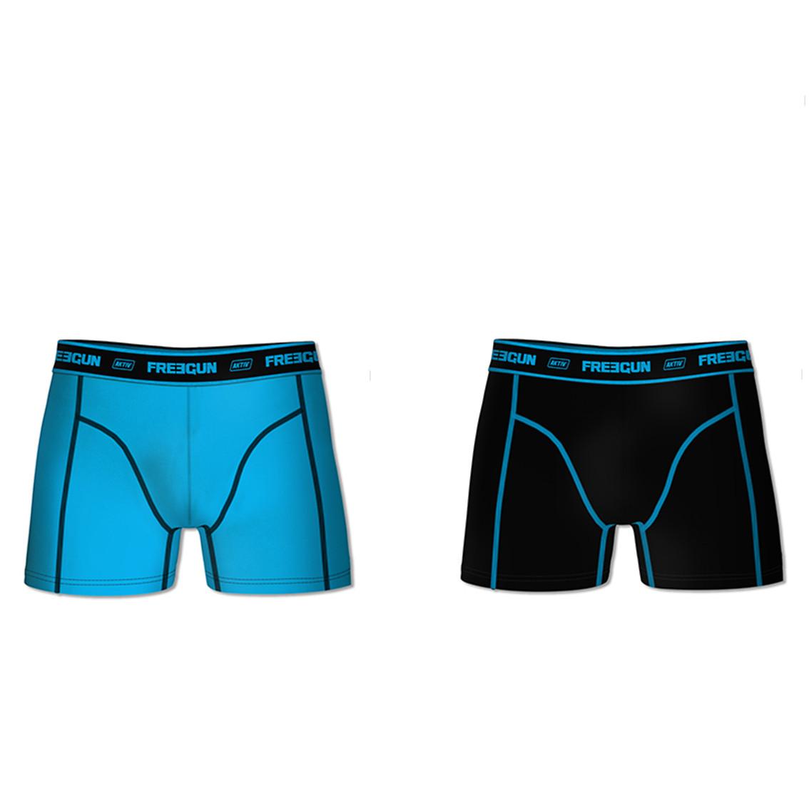 Lot de 2 boxers coton homme aktiv bleu et noir (photo)