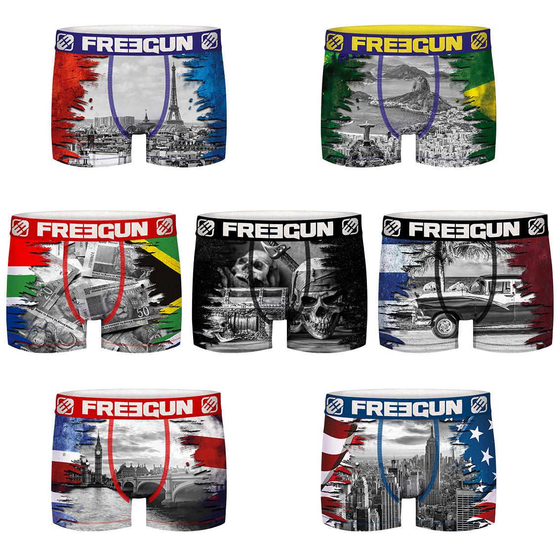 Lot de 7 boxers freegun homme world tour