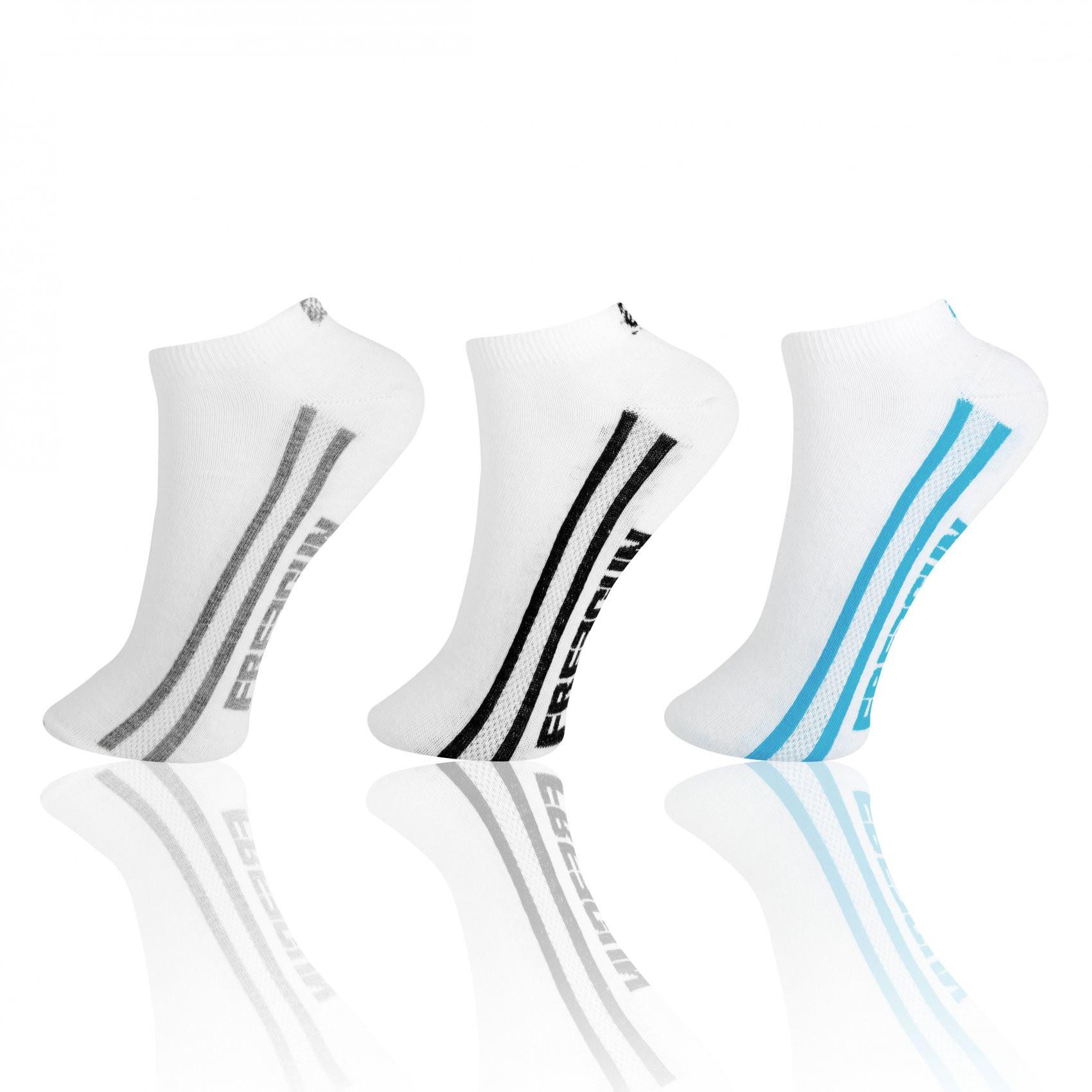 Lot de 3 paires de chaussettes sneakers freegun garçon blanc (photo)
