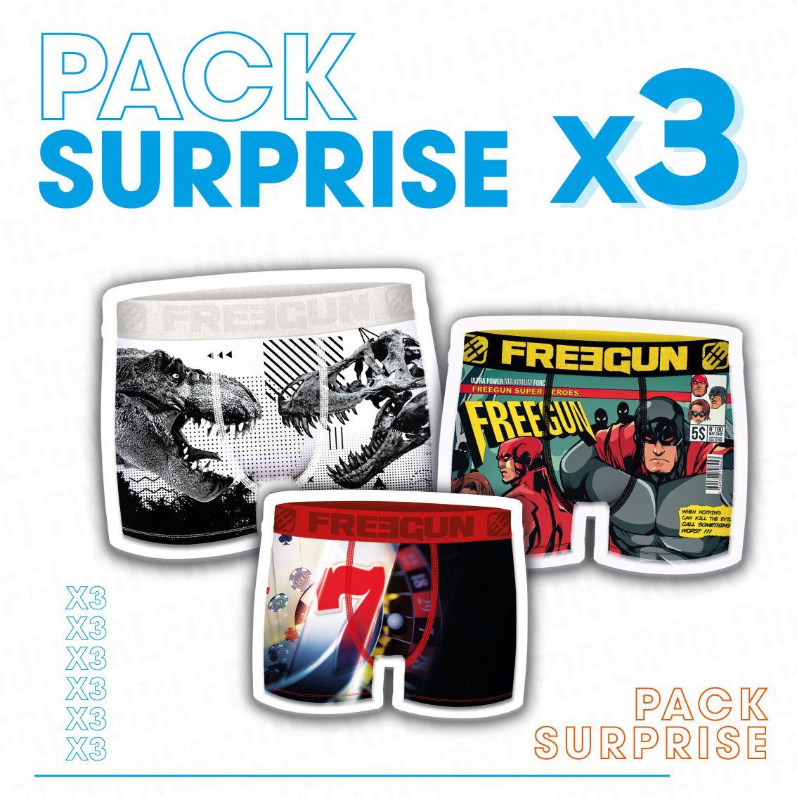 Pack surprise de 3 boxers freegun garçon