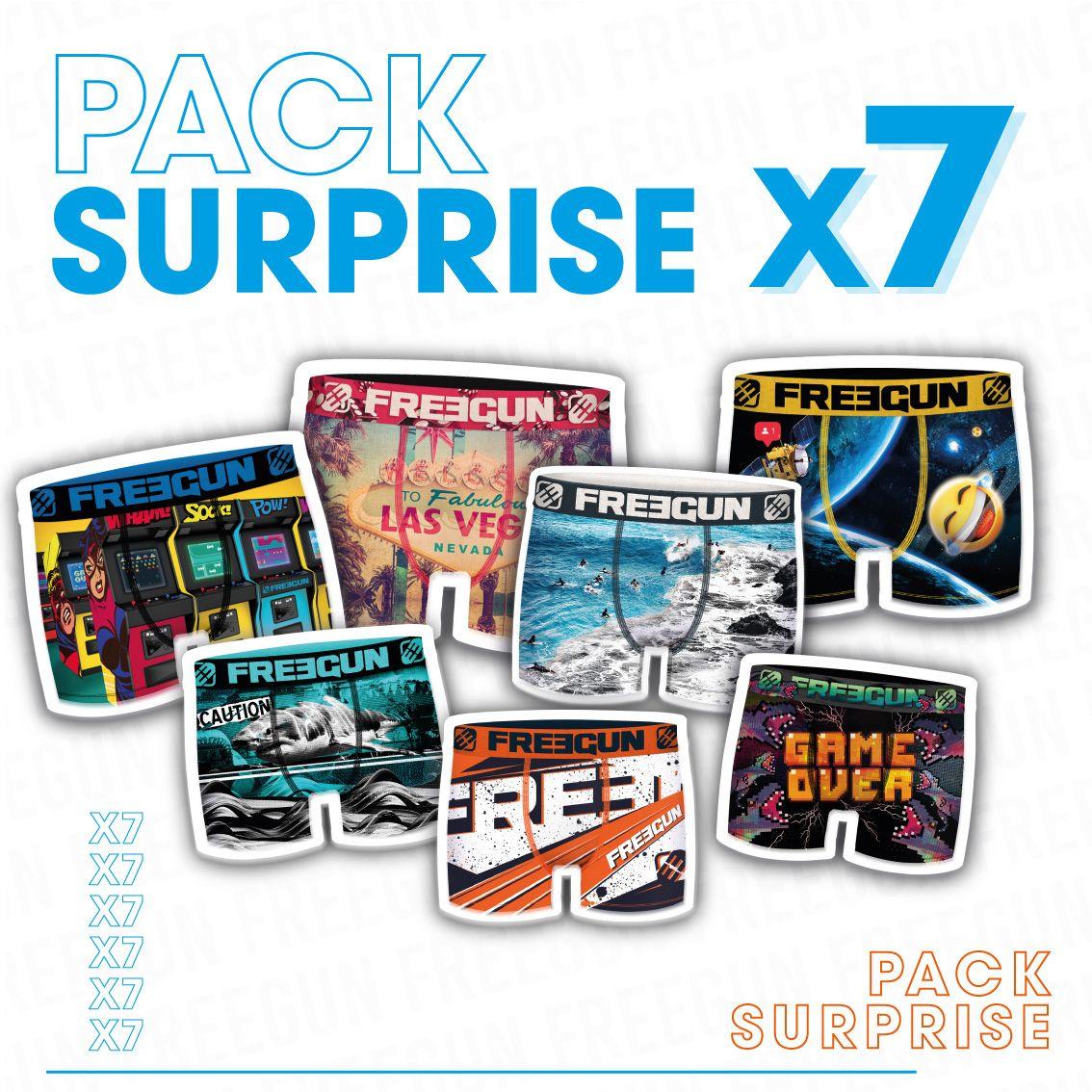 Pack surprise de 7 boxers freegun microfibre garçon