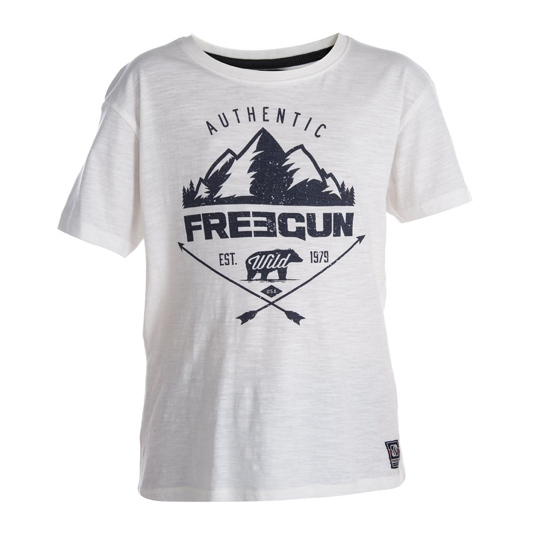 T-shirt garçon mountain blanc freegun (photo)
