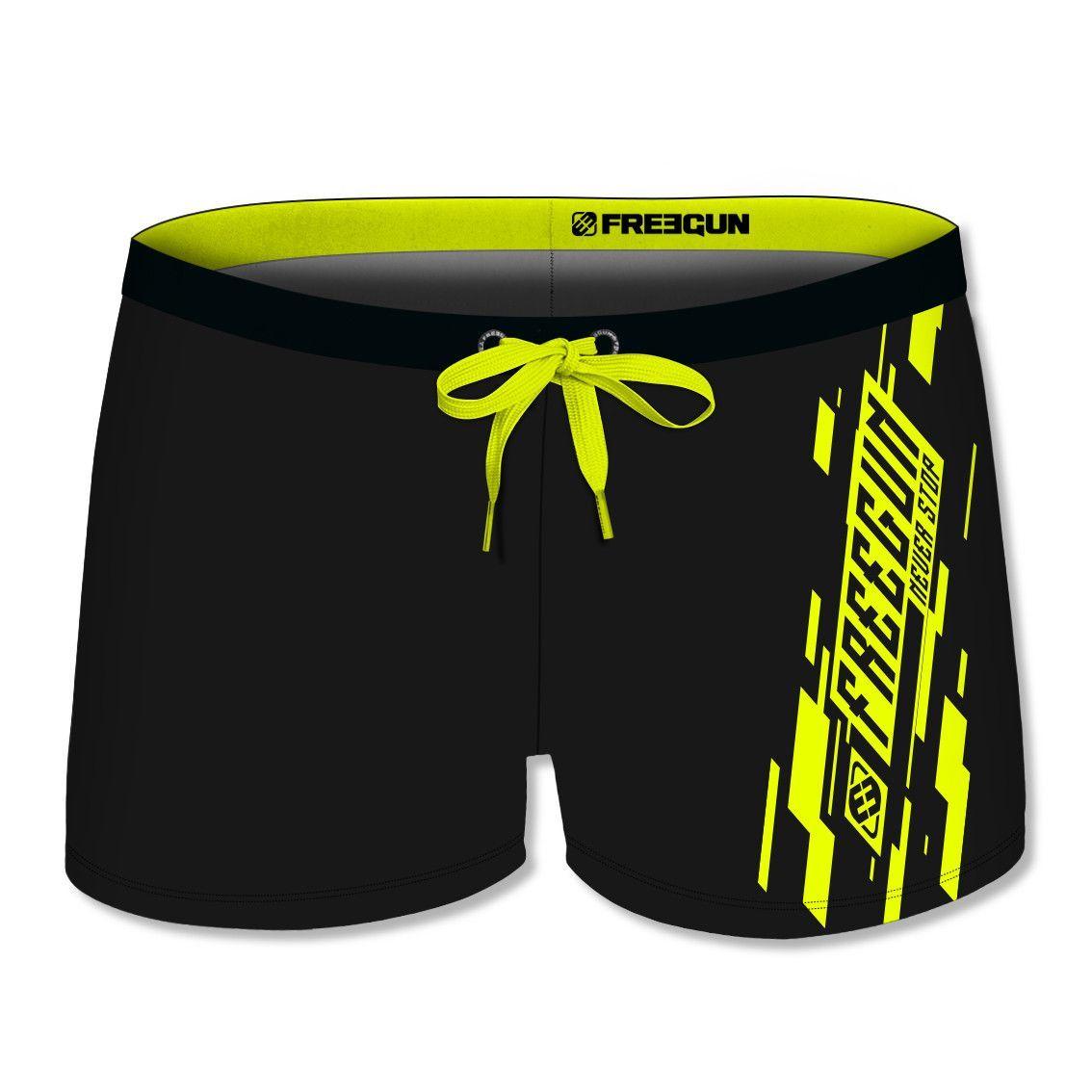 Boxer de bain garçon uni avec logo rubber print en couleur