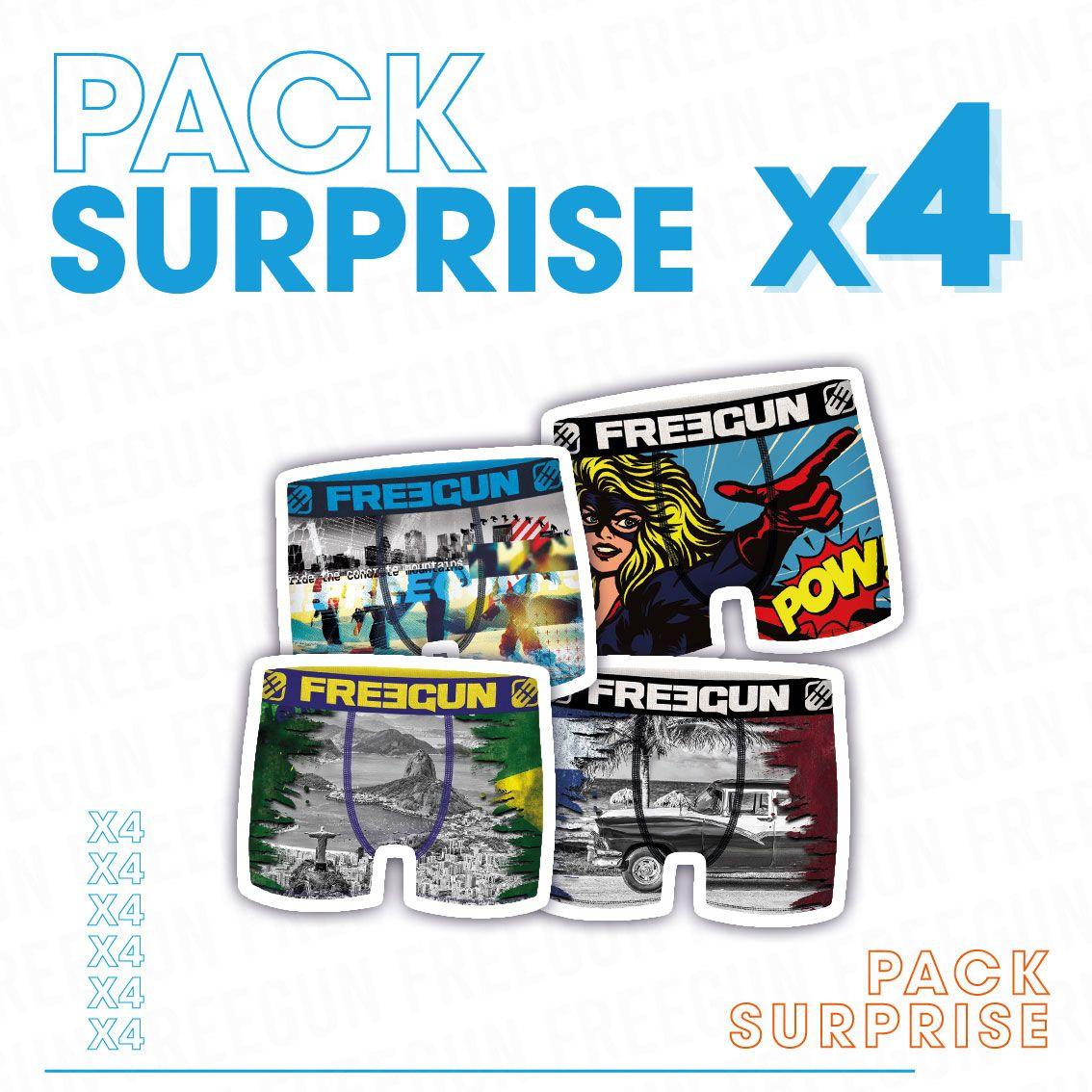 Pack surprise de 4 boxers freegun microfibre bébé garçon