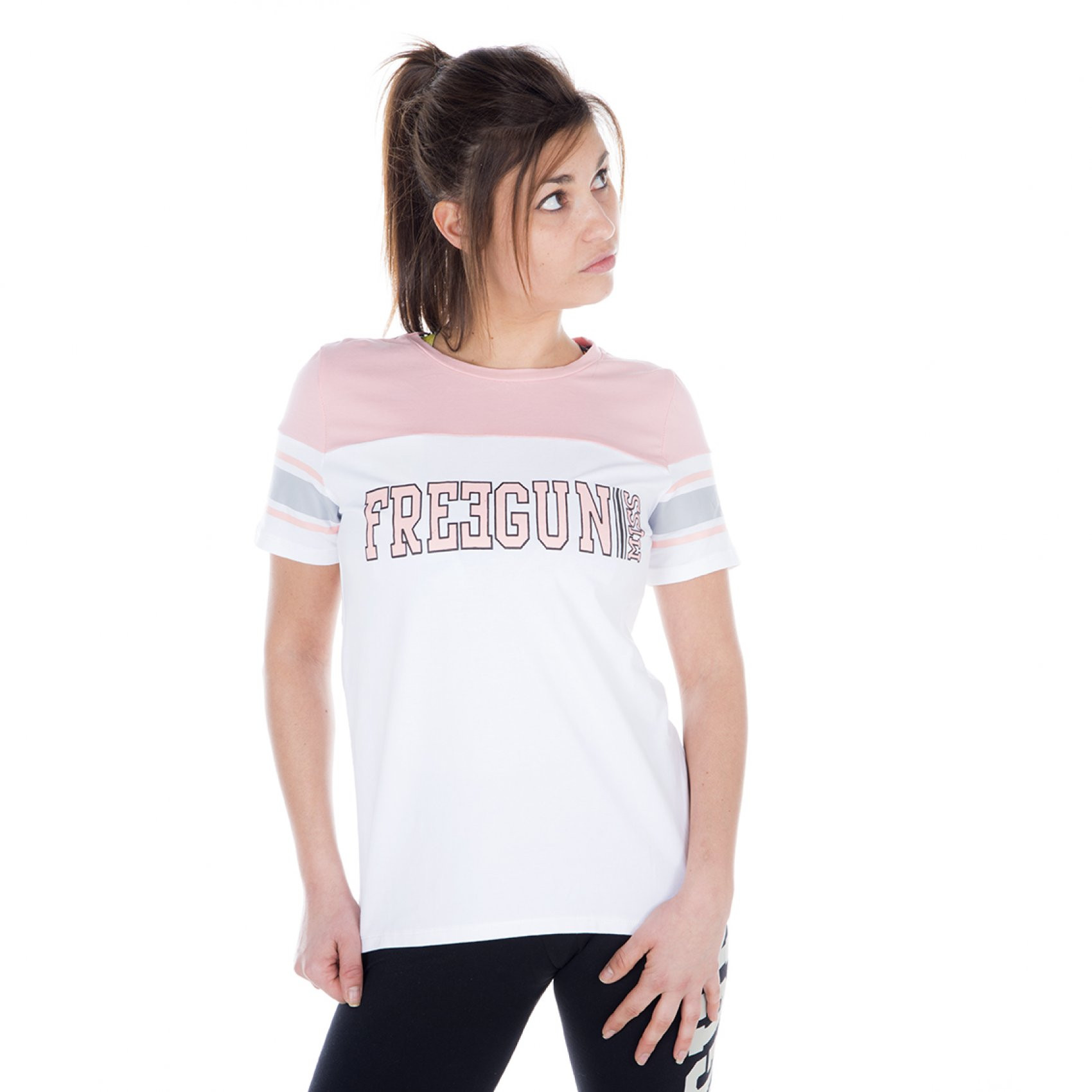 T-shirt manches courtes femme tricolore miss freegun (photo)