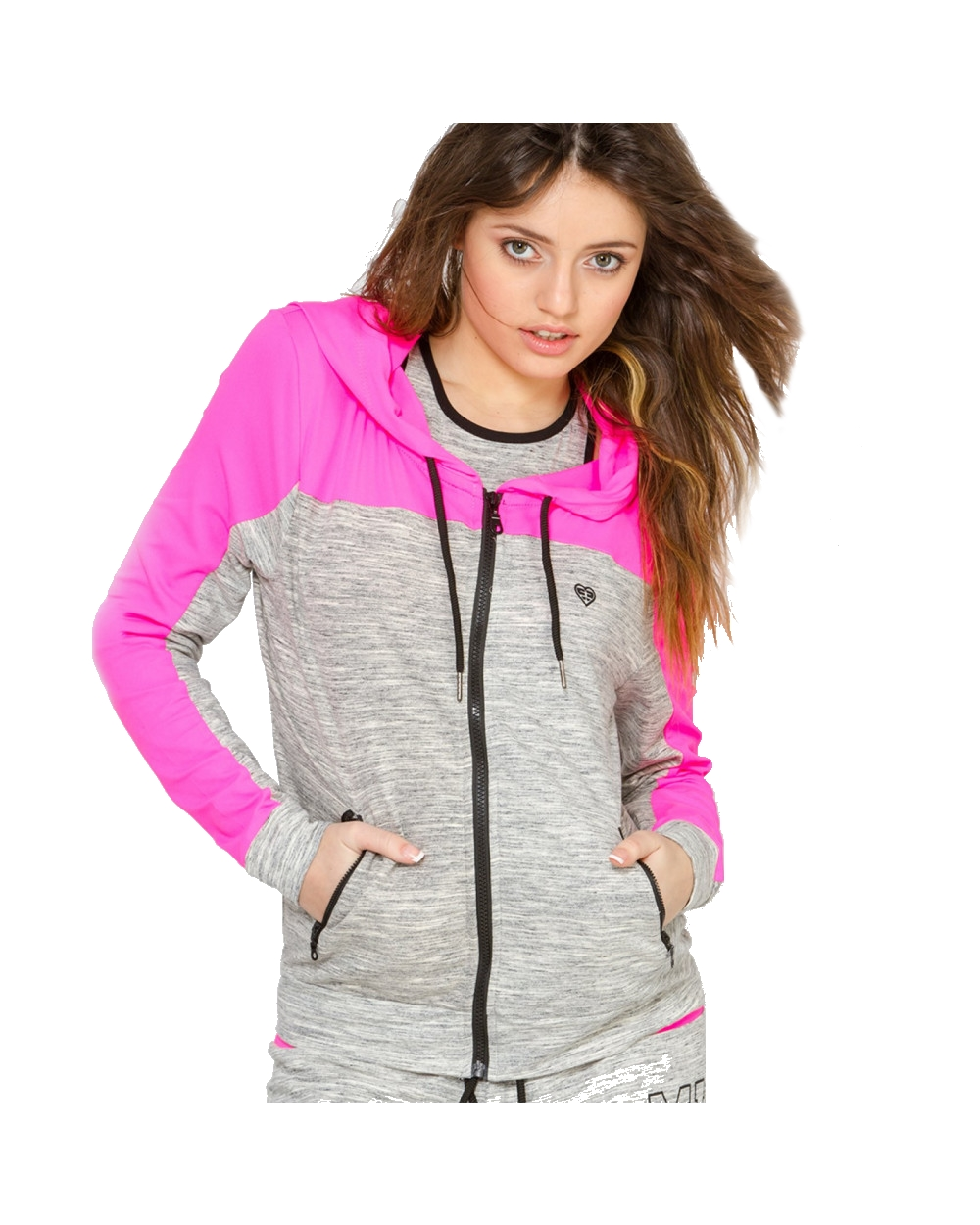 Sweat zippé bi-couleur capuche miss freegun (photo)