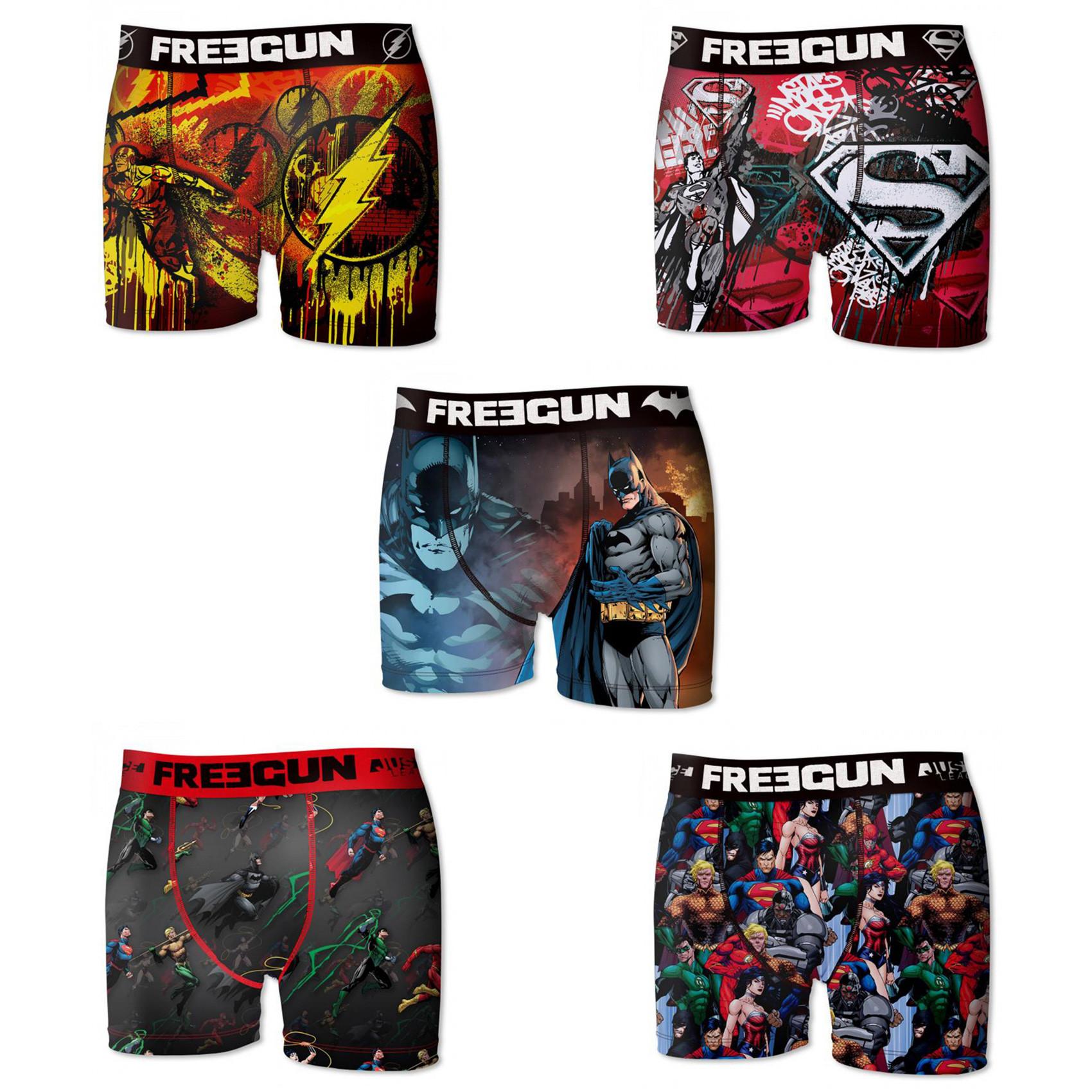 Lot de 5 boxers freegun homme dc comics league (photo)
