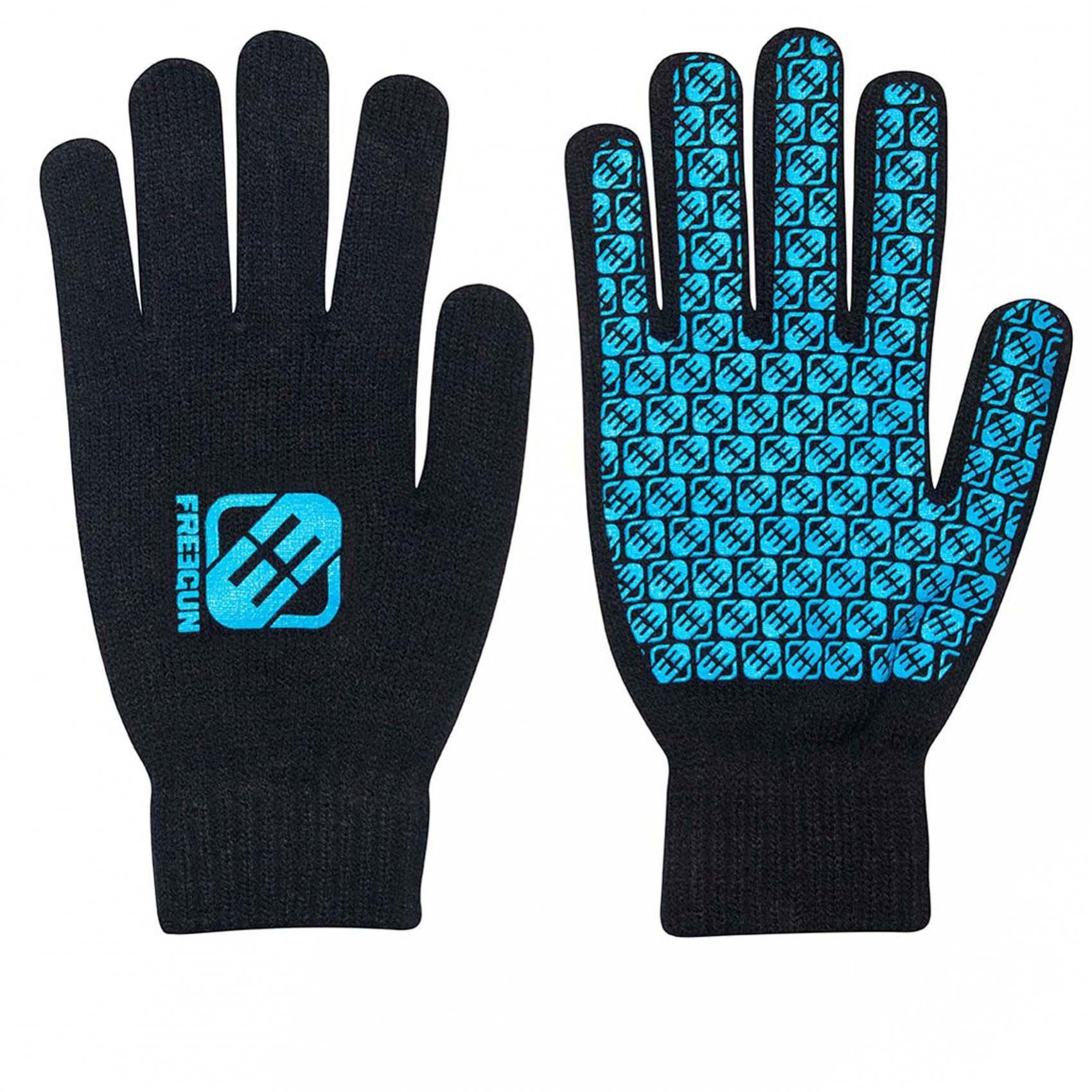 Paire de gants homme logo bleu freegun (photo)