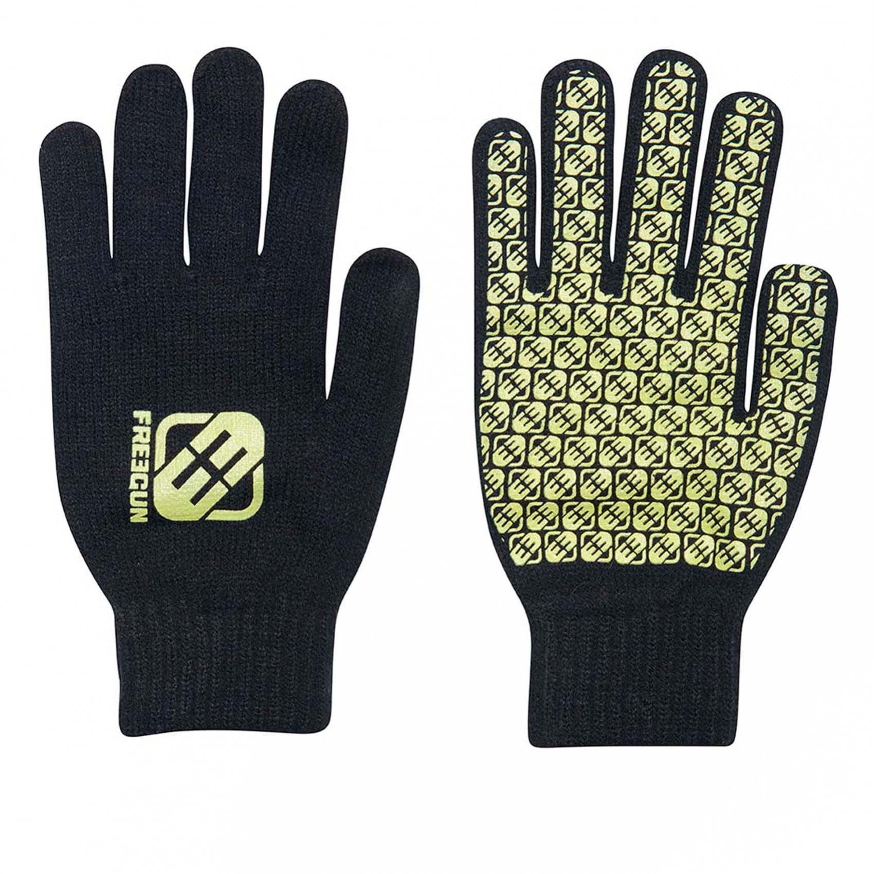 Paire de gants homme logo vert freegun (photo)