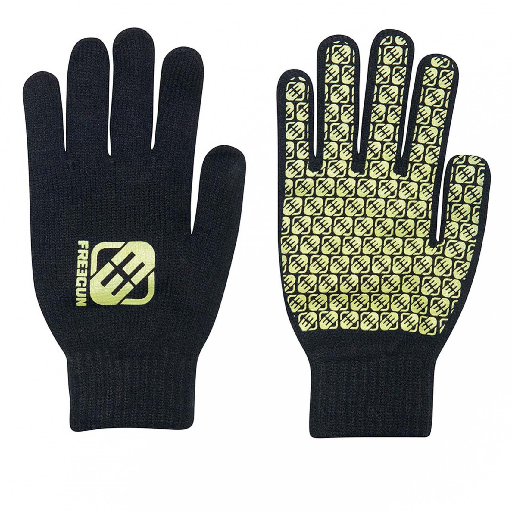 Paire de gants garçon logo jaune freegun (photo)