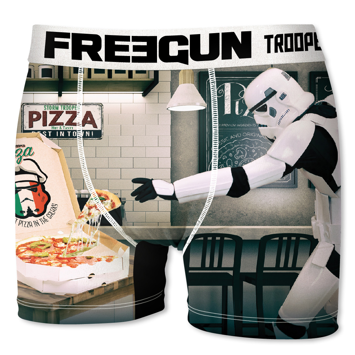 Boxer homme freegun stormtrooper pizza blanc (photo)
