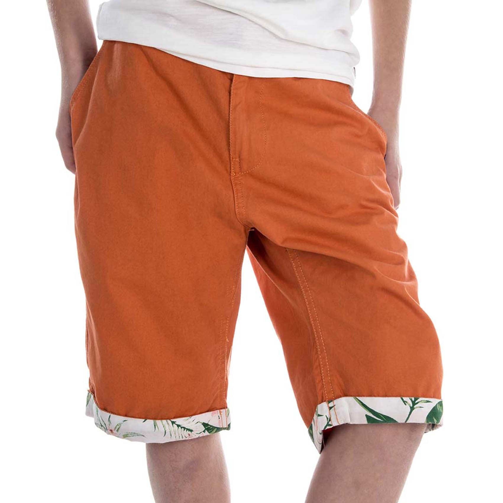Short bermudas freegun orange et blanc (photo)
