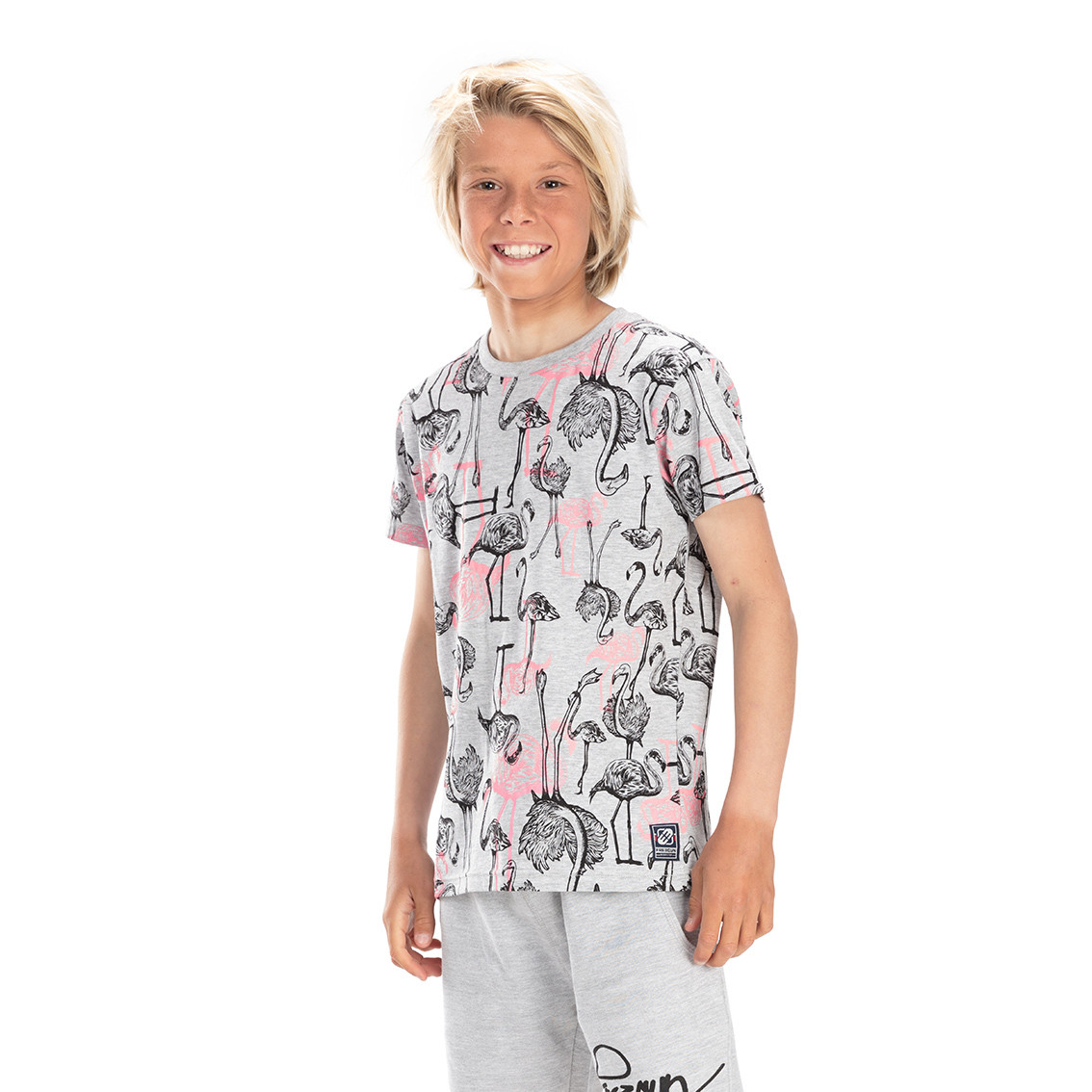 T-shirt freegun flamant gris (photo)