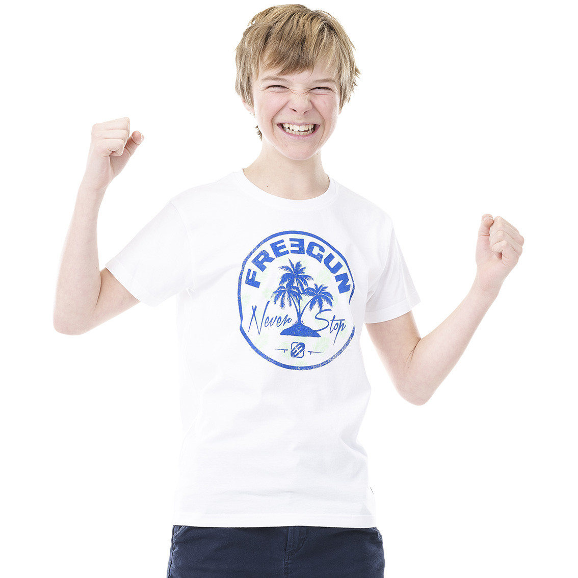 T-shirt freegun palmier blanc et bleu (photo)